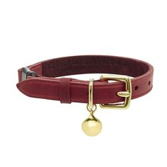 CHRISTMAS GIFT: Treat your fabulous feline to this beautiful red leather cat collar from British brand, Cheshire & Wain.