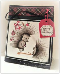 Recipe: The Hedgehog and Gift by Julia Spiri Gift bag template I found at PaperCrafts & Scrapbooking- online Unknown sentiment Pattern card stock is from Graphic 45 All other supplies are from my stash #juliaspiri #emaginationdotcom