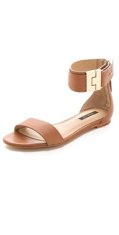 Rachel Zoe Gladys Flat Sandals in brown or black leather