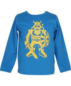 Danefæ stoere blauwe t-shirt met gele roboviking #emilea