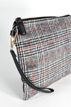d12838c507 19.99 | New Women's Plaid Clutch Purse Zip Bag Black and White and Red ❤