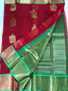 Red Pure Organza Silk Sarees