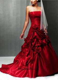 A Charming Taffeta Strapless Wedding Dress
