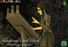 FUNCTIONAL SPELL BOOK: Perfect for your witchy sims! I took the book stand from the Vampires Game Pack and gave it the same tuning as a podium from the City Living Expansion Pack! As an added bonus,. Sims 4 Game Mods, Sims Games, Sims 4 Mods, Vampire House, Vampire Games, Sims 4 Bedroom, Sims 4 Studio, Play Sims, Sims Four