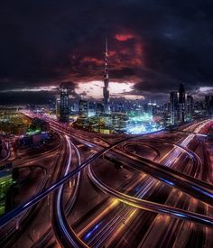 DIASPAR II  Dubai.  Colour treatment was inspired by on of the Arthur C. Clarke's early science fiction novels titled 'The City and the Stars'.  https://en.wikipedia.org/wiki/The_City_and_the_Stars  Shot with Canon 5Dmk3 and Canon TS-E 17mm lens. Processed with Photoshop CC 2015, NIK Color Efex Pro 4 on a custom built PC, powered by Windows 10 Pro 64-bit. I used Wacom Intuos Pro to paint the luminosity masks and lighting effects.
