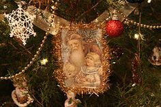 An album of home-made Christmas ornaments, most of which are vintage-inspired.
