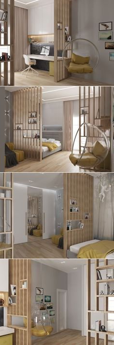 51 Room Divider Ideas To Not Miss Today bedroom bed juveniles-home decor inspiration. bohemian style and colorful. interior bedroom small spaces 51 Room Divider Ideas To Not Miss Today - Stylish Home Decorating Designs Small Space Interior Design, Interior Design Living Room, Living Room Decor, Interior Decorating, Bedroom Decor, Bedroom Loft, Bedroom Shelves, Bedroom Small, Bedroom Ideas