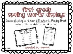 1st grade Reading Street spelling words for all units