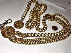 Celtic Gold Chain Metal Linked 3 layer Emblem Belt EUC  #unknown #ChainBelt