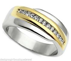 Geometric Overlap Crystal Ring Stainless Steel Two-tone Size 6 -10 Silver Gold #Unbranded #Band