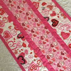 Valentine Table Runner Quilt, Hearts, Birds, Pink, Red, Handmade Quilt by KeriQuilts on Etsy