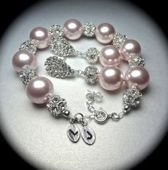 Bridal jewelry // Pearl bracelet and earring set // Chunky // Rhinestone fireballs // Personalized // Hand stamped // Initials // Extender on Etsy, $79.99