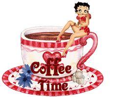 Coffee Time with Betty Boop! I Love Coffee, Coffee Art, Hot Coffee, Imagenes Gift, Imagenes Betty Boop, Betty Boop Halloween, Black Betty Boop, Boop Gif, Betty Boop Cartoon