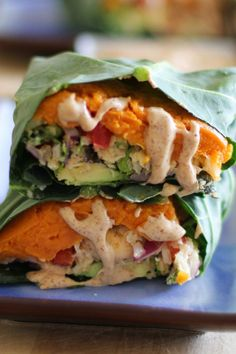 Roasted Sweet Potato and Cauliflower Rice Collard Wraps with Ginger-Almond Butter Sauce | theroastedroot.net #paleo…