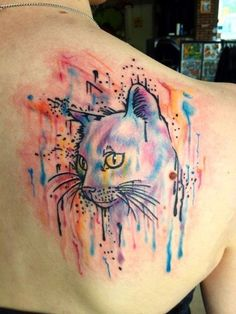 45 chic cat watercolor tattoo on upper back for girls