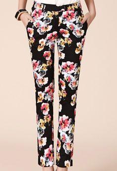 Black Mid Waist Side Pockets Big Floral Pant - Sheinside.com