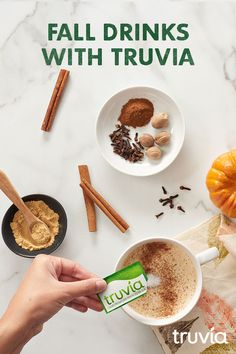 Warm up to autumn weather with hot drinks made with calorie-free Truvia Natural Sweetener. Sugar Free Desserts, Sugar Free Recipes, Ww Recipes, Diabetic Recipes, Fall Recipes, Low Carb Recipes, Holiday Recipes, Recipies, Yummy Drinks