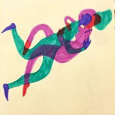 Seguimos entrelazados sin fin. #ilustracion #amantes #color #entrelazados