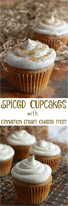Spiced Cupcakes with Cinnamon Cream Cheese Frosting Spiced Cupcakes with Cinnamon Cream Cheese Frosting are the perfect Fall dessert! This easy recipe is great for holiday parties and meals. A very special secret ingredients adds a blast of flavor! Winter Desserts, Thanksgiving Desserts, Holiday Desserts, Just Desserts, Delicious Desserts, Dessert Recipes, Holiday Parties, Party Desserts, Cupcake Recipes Easy