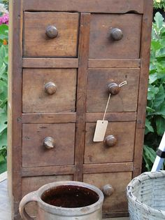 Lovely old wood drawers...spice cabinet