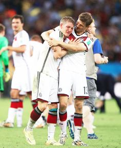Muller--so wise beyond his years-- comforting an overwhelmed Schweini. He is younger than Schweini, but he seemed to take on their World Cup win like a wizened old man. Hmmm ... must have been a Dalai Lama in his last life.
