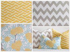 yellow, aqua, gray bedding