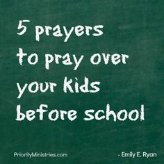 Two free printables! One for your son and one for your daughter. Each sheet has 5 prayers to pray over your kids before school. Find more resources at: www.priorityministries.com