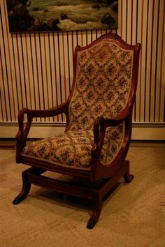 Antique 19th Century Mahogany Swan Armed Rocking Chair No