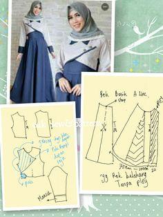Gamis Dress Sewing Patterns, Clothing Patterns, Muslim Fashion, Modest Fashion, Fashion Sewing, Diy Fashion, Estilo Abaya, Muslim Dress, Sewing Lessons