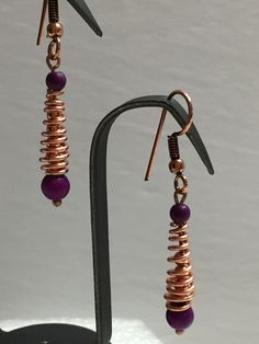 Purple Copper Spiral Earrings, Handmade Earrings, Stone Earrings, Healing Earrings, Copper Jewelry, Magnesite Earrings, Gift for her