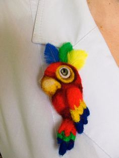 Felt brooch Parrot by MariannaBu on Etsy