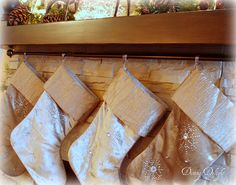 Notice the curtain rod mounted under the mantel?   Makes a great place to hang the stockings!