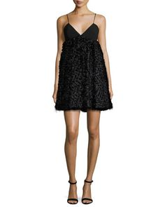 Katie Sleeveless Mixed-Media Mini Dress, Black by Milly at Neiman Marcus.