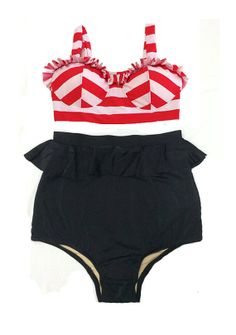 Red White Stripe Stripes Top and Black High waisted waist Shorts Bottom Vintage Retro Swimsuit Swimwear Swim Swimming Bathing suit suits S M on Etsy, $39.99