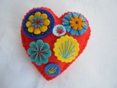 Felt Brooch Heart and Flowers Red Blue Yellow £4.50