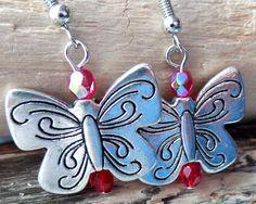 Butterfly Birthstone Earrings, Silver Butterfly Earrings, Personalized Birthstone Earrings, Butterfly Jewelry, Fair Trade, Vegan Friendly by WaterRhythmGems on Etsy