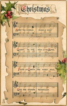 Christmas ~ Hark! The Herald Angels Sing, beautiful holly & berries