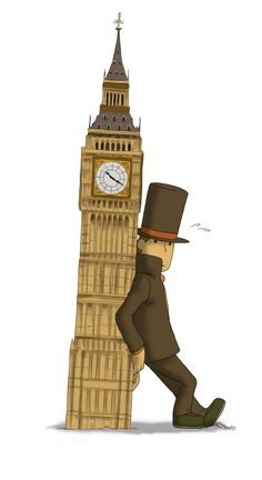 """Professor Layton tries to keep Big Ben straight up. From what I read on the Internet, it's found out that Big Ben really is leaning in real life, so this is making fun of it. Also, since Big Ben is leaning, shouldn't it be called """"leaning tower of Big Ben"""" now?"""