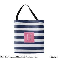 Navy Blue Stripes and Pink Monogram Tote Bag