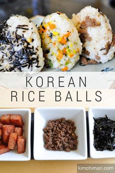 Korean rice balls Easy pretty rice triangles for packed lunch picnic and of course a fun meal at home You can prepare the fillings beforehand to save time in the morning kimchimari koreanrecipes easyricerecipe lunchboxideas riceball Good Food, Yummy Food, Healthy Food, Dessert Healthy, Dessert Food, Dinner Healthy, Yummy Snacks, Vegan Food, Easy Rice Recipes