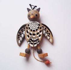 Vintage Wooden Jumping-Jack Owl Toy Made in Austria - Painted Wood Austrian Toy - Owl Pull Toy - 1950s Hand Painted Wooden Toy - Bird Toy