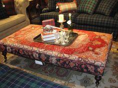 Antique rug remnant ottoman