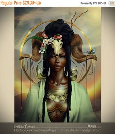 Print Sale ARIES  Zodiac African American Art  Black Woman Goddess Dreadlocks Afrofuturism Natural Hair Fantasy Illustration Painting Print