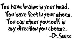 Dr. Seuss Quote You Have Brains......Removable Wall Art Vinyl Decal sticker