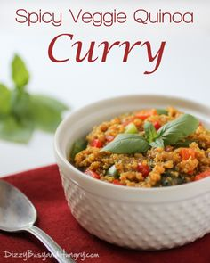 Spicy Veggie Quinoa Curry from DizzyBusyandHungry.com - Quick, easy, and healthy quinoa and veggie dish with lots and lots of flavor! #vegan #quinoa #healthy