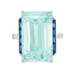 Aquamarine, Sapphire and Diamond Ring White gold, one emerald-cut aquamarine ap. Gems Jewelry, Art Deco Jewelry, I Love Jewelry, High Jewelry, Vintage Jewelry, Bullet Jewelry, Gothic Jewelry, Jewlery, Jewelry Necklaces