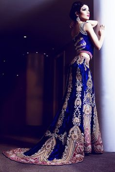 Blue Lehenga with train for a south Asian wedding