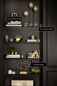 Decor Secrets To A Perfectly Styled Bookcase Need some help organizing that living room bookcase? See our 6 tips for the perfectly styled spot:Need some help organizing that living room bookcase? See our 6 tips for the perfectly styled spot: Bookshelf Styling, Bookcase Shelves, Bookshelf Ideas, Bookshelf Design, Bookcases, Black Bookcase, Corner Shelves, Wall Shelves, Rustic Bookshelf