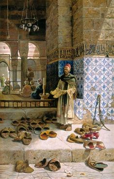 The artwork Shoes of religious Moslems in front of a mosque - Charles Robertson we deliver as art print on canvas, poster, plate or finest hand made paper. Art And Illustration, Art Arabe, Moslem, Arabian Art, Islamic Paintings, Inspiration Art, Arabian Nights, Egyptian Art, Art Design