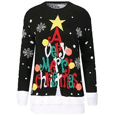 New Womens Reindeer Christmas Xmas Gift Jumper Knitted Jumper Ladies UK Size ( A Very Merry Xmas Black)